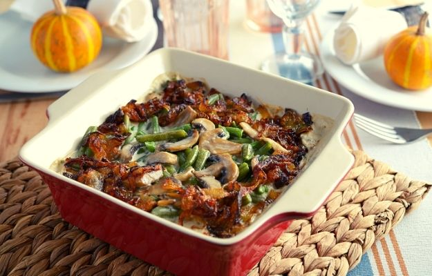 Baked green beans with caramelized onions and mushrooms   5 Vegan Casserole Recipes to Bring To A Potluck