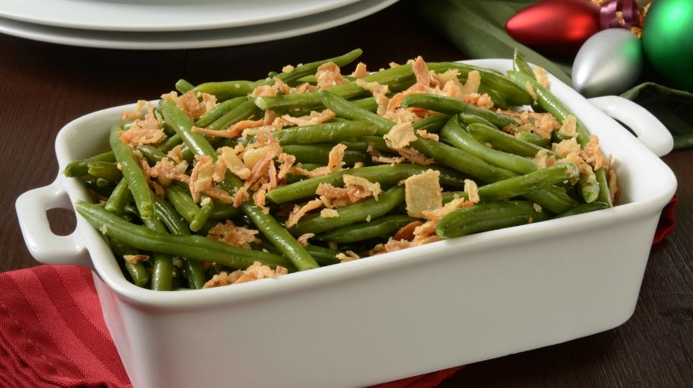 Green Bean Casserole with fried onion on top-feature | Feature | Vegan Green Bean Casserole