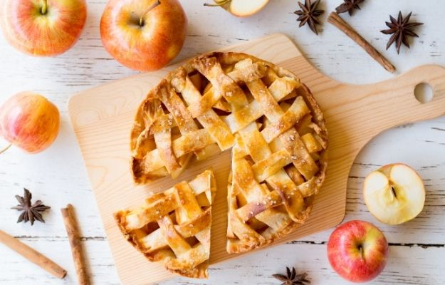 Homemade apple pie pastry on wooden board in top view.,bakery and dessert concept-ss | How to Make the Best Vegan Apple Pie | The Best Ever Vegan Apple Pie Recipe