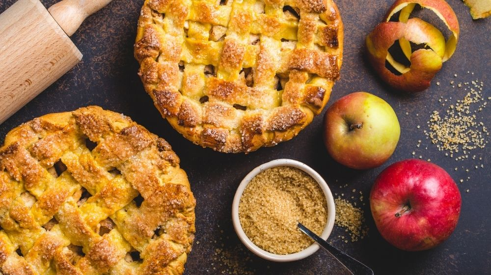 homemade apple pie with apples and a cup of sesame-feature-ca |The Best Ever Vegan Apple Pie Recipe| Feature