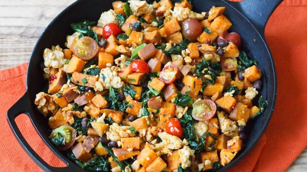 vegetarian stuffing in cast iron pan-feature | Feature | Vegan Stuffing